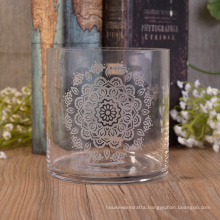 Vertical Straight-Walled Glass Hurricane Large Candle Holders with Frosted Flower Logo