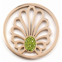 Fashion Leave Coin with Green Crystal