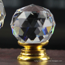 30mm Clear White Crystal Furniture Cabinet Knob in Brass Hardware