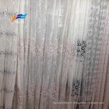 Tissu de rideau en voile large 100% polyester brodé