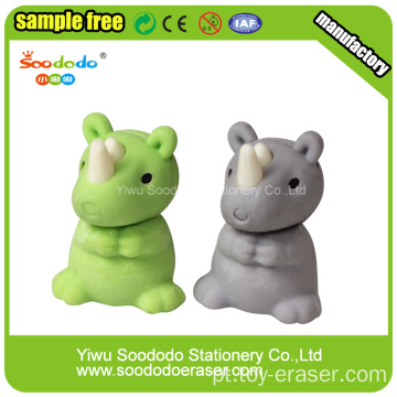 SOODODO 3D Collectible Grey Rhino Shaped Borracha
