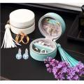 Boîtes-cadeaux d'emballage de bijoux portables en cuir PU