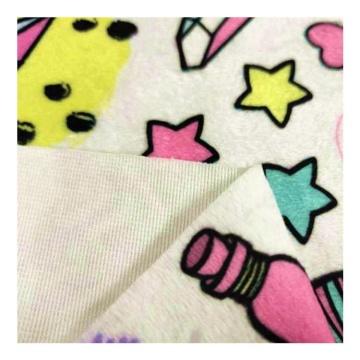 Tecido 100% poliéster com estampa de lã para manta de bebê
