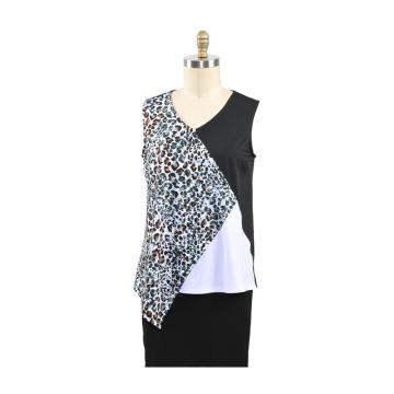 Top feminino estampado casual solto