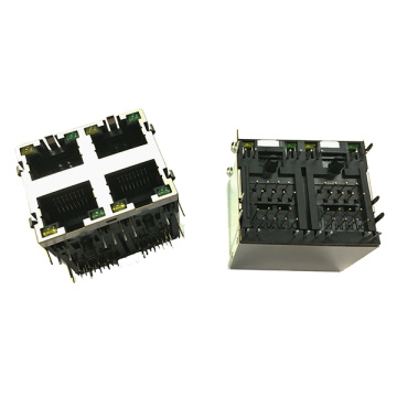 RJ45 Side Entry 2x2P Mit LED Mit EMI