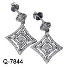 Pendientes colgantes de joyería de plata rodio (Q-7844)