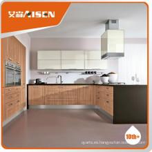 Larga vida madera de madera de color membrana del gabinete de cocina de bajo precio y muebles de alta calidad estándar para la cocina