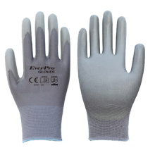 13 Gauge Gray Polyester Nylon Gray PU Dip Best Anti Static Gloves For PC Building