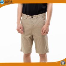 Moda Masculina Casual Algodão Chino Calças Short Cargo Shorts