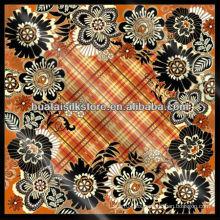 100% seda floral tela escocesa Turky bufanda 105x105cm