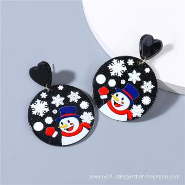 2021 Halloween Christmas Jewelry for Women Resin Santa Claus Elk Snowflake Heart Stud Earrings
