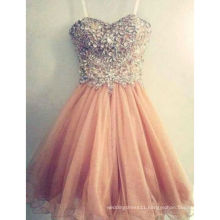 Free Shipping Hot Sale Popular Spaghetti Strap Tulle Beaded Short Coral Prom Dresses Peach Prom Gown