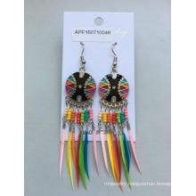 Fashion Colourful Beads and Feathers Earrings with Metal