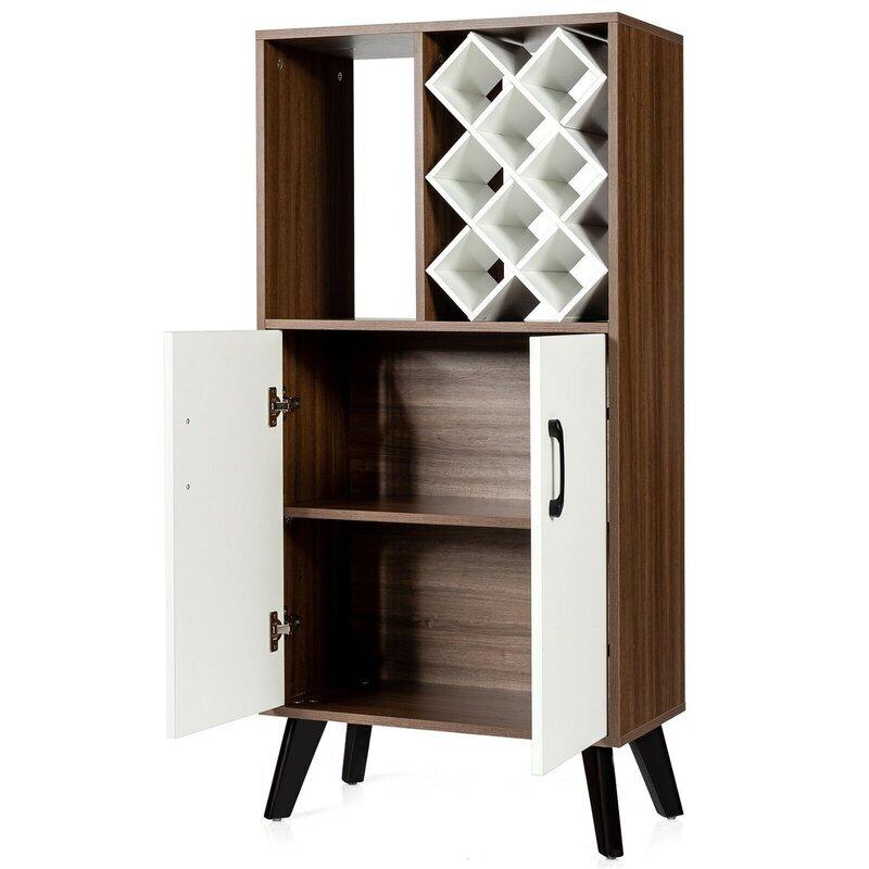 Bar Cabinet Wooden Buffet Sideboard Storage Cupboard With Wine Rack 4