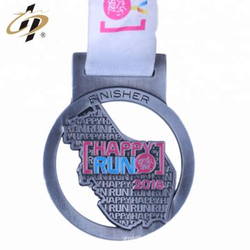 Article en vrac bon marché die frappé antique médaille de sport marathon argent personnalisé