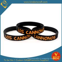 Bracelet en silicone noir imprimé par vente chaude fait sur commande (LN-015)