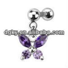 La mariposa cristalina múltiple cuelga la joyería perforadora de la barra del oído del trago del cartílago del cartílago