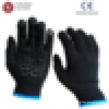 Prix bon marché coton noir coton tricoté pvc gants de travail poncés