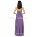Newest Fashion Handmade floor length long design solid purple evening dress