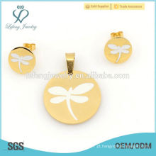 Venda quente libélula conjuntos de jóias, brinco de aço inoxidável 316l e conjuntos de locket para mulheres