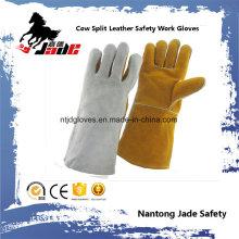 Gant de travail de soudure de sécurité en cuir industriel à double couleur en peau de vache