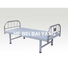 A-125 cama de hospital plana com cabeça de cama de aço inoxidável