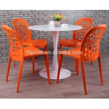 Sillas de comedor de plástico redondo trasero hueco sillas de comedor al aire libre
