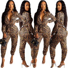 C3680 Sexy winter clothing stand collar long sleeve V neck leopard printing trendy fitness women jumpsuit party clothing club