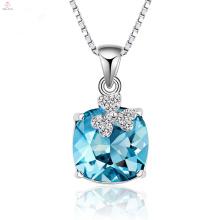 Hohe Qualität 925 Silber Kette Blau Kristall Halskette Anhänger