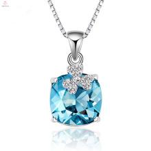 Alta qualidade 925 cadeia de prata pingente de colar de cristal azul