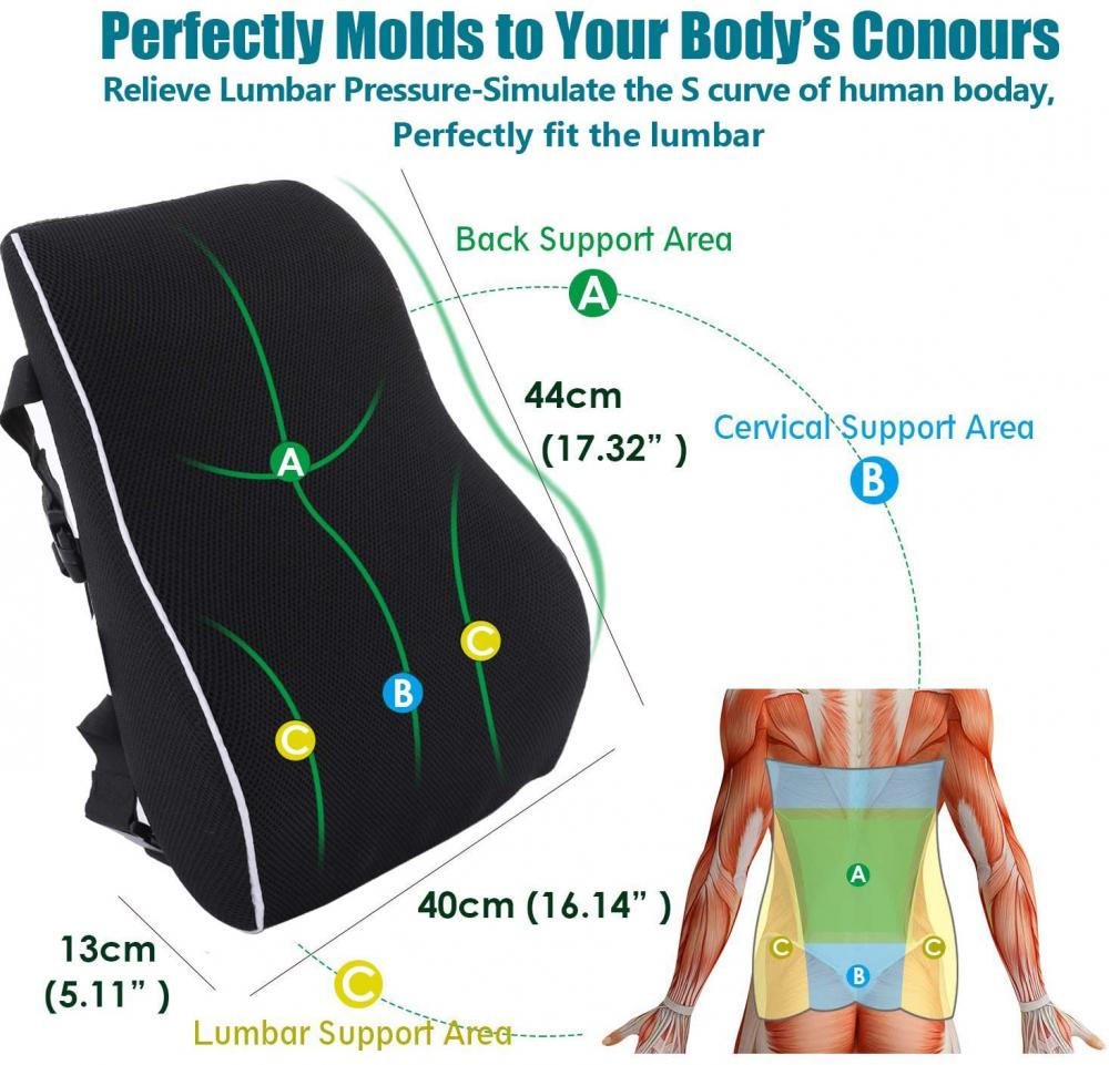 Memory Foam Back Cushion For Car