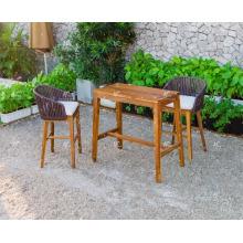 Exclusivo diseño con clase Poly Rattan marco de madera de la barra de juego para jardín al aire libre Muebles de mimbre Patio