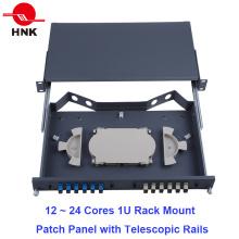 24 Cores 1u Painel de montagem para montagem em rack com trilhos telescópicos