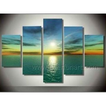 Pintura al óleo pintada a mano pura del arte de la pared de la puesta del sol del paisaje marino de la manera (SE-179)