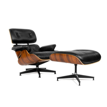 Fotel Aniline Leather Eames i replika otomana