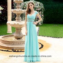 Großhandelsfrauen-schöne preiswerte reizvolle V-Ansatz-lange Abschlussball-Brautjunfer-Kleider