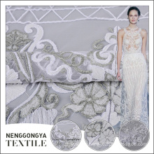 Latest arrival polyester allover flat embroidered lace fabric for bridal