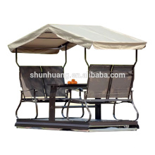 Hot sale outdoor metal patio dining swing chair for 4 person with canopy garden furniture