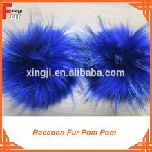 Sombreros Beanie / Con botón de presión / Raccoon Fur Pom Pom