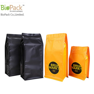Compostabile Cornstrach Plastic Square Bottom Stand Up Bag Custom Prirnting con chiusura lampo sulla parte superiore