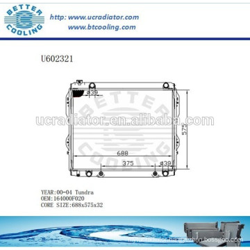 Radiator For TOYOTA 164000F020 TUNDRA 00-04 Manufacturer and Direct Sale