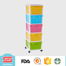 family most practical colorful plastic clothing drawers with wheel