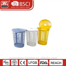 Plastic laundry basket with swing and lid(55L)