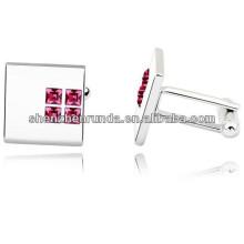 Red crystal cufflinks factory stainless steel cufflink direct cufflinks