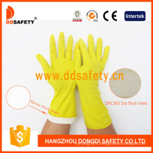 Yellow Household Latex Spray Flock Lined Scalloped Cuff Household Working Glove DHL423