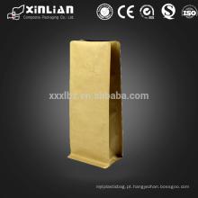 Stand up papel de embalagem de papel kraft plano inferior embalagem