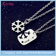 Colar do floco de neve do Natal colar esterlina 925 da jóia da tira do projeto da colar dos amantes