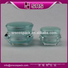 Alibaba China wholesale 5g15g 30g 50g acrylic cosmetic empty jar,luxury plastic diamond cream packaging with twin-layer lid