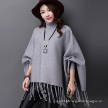 Lady Fashion Turtle Neck Acrylic Knitted Fringed Winter Poncho (YKY4514)