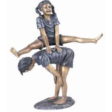 bronze duas crianças jogando leapfrog estátua para venda